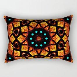 Bright Red Orange Mosaic Kaleidoscope Mandala Rectangular Pillow
