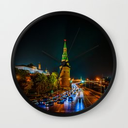 Moscow Kremlin Embankment At Night Wall Clock