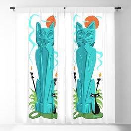 Nani Ele' Ele Anu (Pretty Black Cat) Mid Century Modern Tiki Cat Art Blackout Curtain