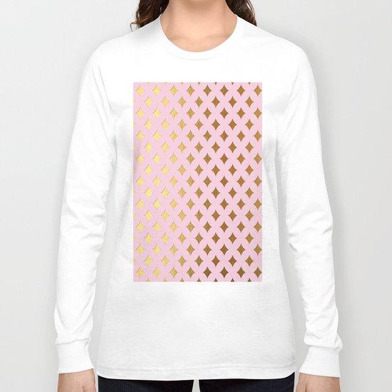 Queenlike- pink and gold elegant quatrefoil ornament pattern Long Sleeve T-shirt