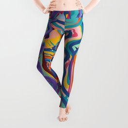 The Purple Kid with his Mother and the Bird Graffiti Art Expressionism Leggings