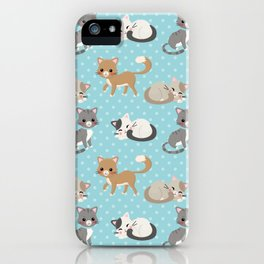 Cute Cat Pattern - Light Blue Polka Dots iPhone Case