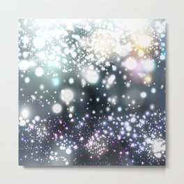 Christmas pattern with snowflakes and lights Metal Print