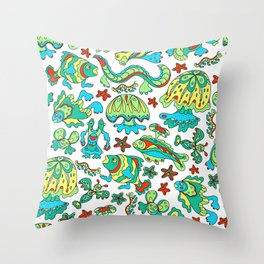 A pattern of fancy bizarre sea creatures. Style Doodle. Vector illustration. Throw Pillow