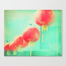 Red Paper Lanterns. Chinatown Los Angeles photograph Canvas Print