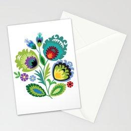 Polish Folk Flowers Green Stationery Cards