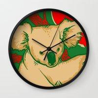 koala Wall Clocks featuring Koala by whiterabbitart