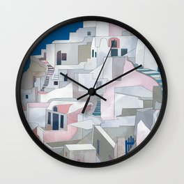 greece houses santorini Wall Clock