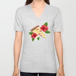 Hawaiian Pizza in a Hawaiian Print Unisex V-Neck