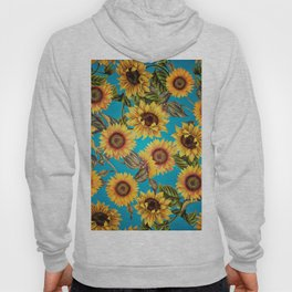 Vintage & Shabby Chic - Sunflowers on Teal Hoody