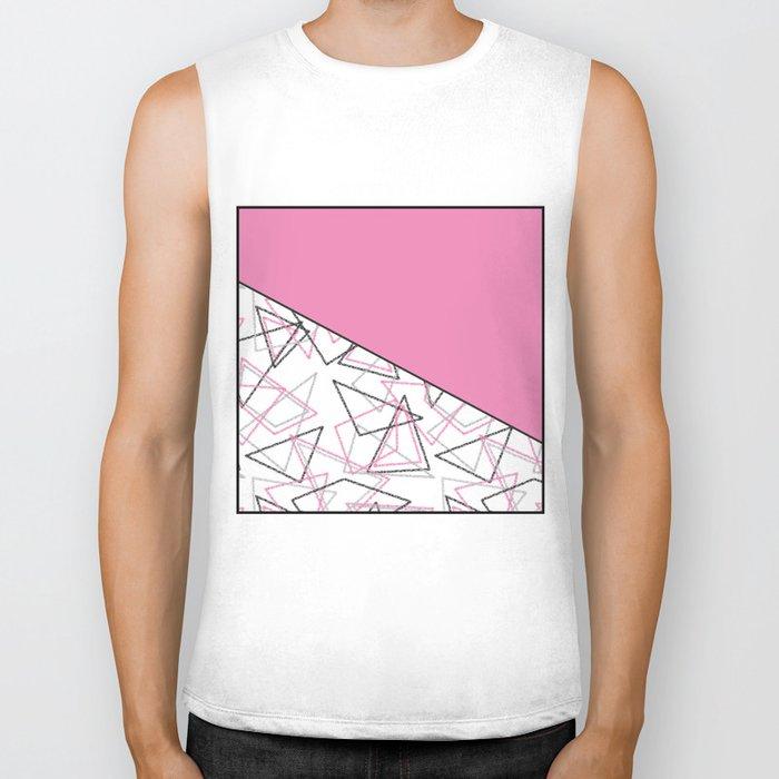 Abstract pink combo pattern . Biker Tank