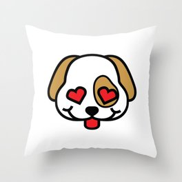Cute Puppy Love with Heart Eyes Throw Pillow