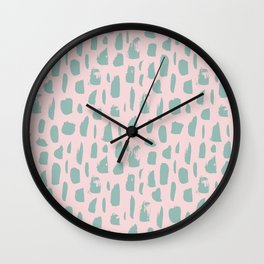 Handdrawn mint drops and dots on pink - Mix & Match with Simplicty of life Wall Clock