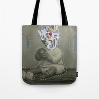 8bit Tote Bags featuring 8bit Face by Naomi Vona