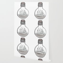 The Ship in the Bulb Wallpaper