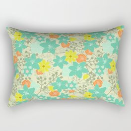 Teal Summer Floral Rectangular Pillow