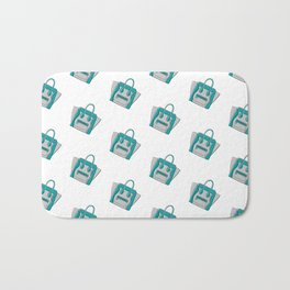 Teal Mermaid Céline Vibes High Fashion Purse Illustration Bath Mat