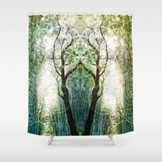 Bamboo Forest Geometry Shower Curtain