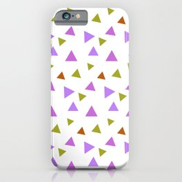 Geometrical violet purple lime green triangles pattern iPhone Case