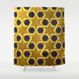 Star of David Pattern in Gold and Black Shower Curtain