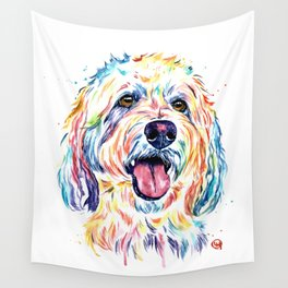 Goldendoodle, Golden Doodle - Dog Portrait Watercolor Painting Wall Tapestry