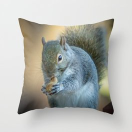 Squirrel and the peanut Throw Pillow