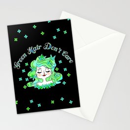 Green Hair Don't Care Stationery Cards
