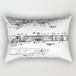 Barber Hair Clippers Patent - Barber Shop Art - Black And White Rectangular Pillow