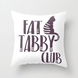 Fat Cat Tabby kitty Throw Pillow