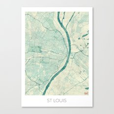 St. Louis Map Blue Vintage Canvas Print