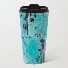 Turquoise Marble Stone with Black Ink overlay design Travel Mug