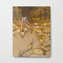 Deer in Kasuga Hiroshi Yoshida Vintage Japanese Woodblock Print Metal Print