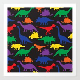 Dinosaurs - Black Art Print