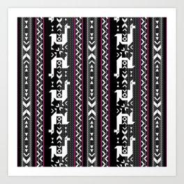 Llamas_Fuchsia stripes Art Print