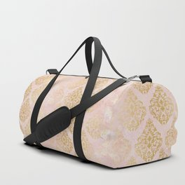 floral gold leaf diamond arabesque on pink Duffle Bag