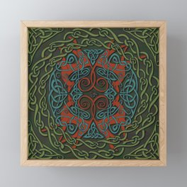 Celtic Knotwork Greyhounds - Red & Green Framed Mini Art Print