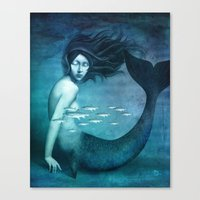 mermaid Canvas Prints featuring Mermaid by Christian Schloe