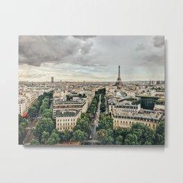 Eiffel Tower + Paris Skyline Metal Print
