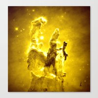 nebula Canvas Prints featuring Yellow neBUla  by 2sweet4words Designs
