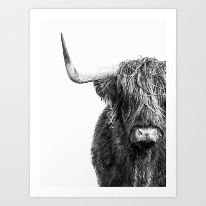 Highland Cow Portrait - Black and White Art Print