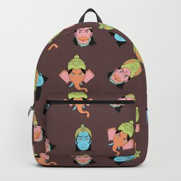 Brown Krishna, Ganesha, and Hanuman pattern Backpack