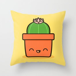 Cactus in Kawaii Pot  2 Throw Pillow