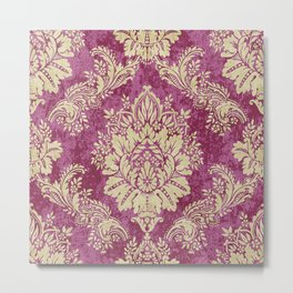 Red Cream Velvet Paisley Floral Metal Print