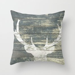 Rustic White Deer Silhouette Teal Wood A311 Throw Pillow