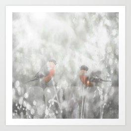 Bullfinch Birds Sitt On The Fence In Grey Winter Day Xmas #decor #society6 Art Print