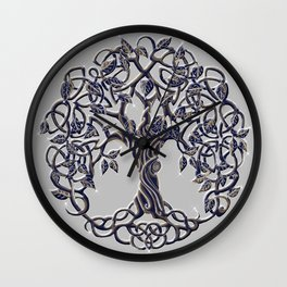 Tree of Life Silver Wall Clock