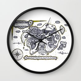 Neverland Illustration  Wall Clock