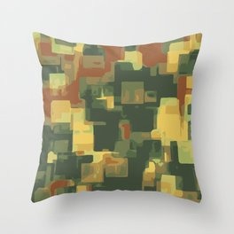 green and brown square painting abstract background Throw Pillow