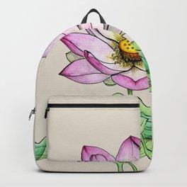 Botanical illustration lotus Backpack
