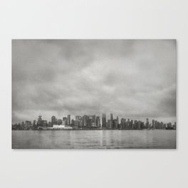 Vancouver Raincity Series - Raincity i - Moody Downtown Vancouver Cityscape Canvas Print